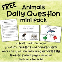 FREE Animals Daily Questions for Special Ed and Autism #bsechallenge