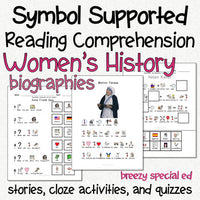 Women's History - Symbol Supported Picture Reading Comprehension for Special Ed