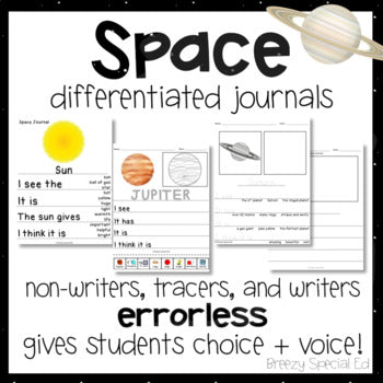 Space Differentiated Leveled Journal Writing for Special Education / Autism