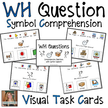 WH Questions Visual Task Cards with Symbols (Autism and Special Education)