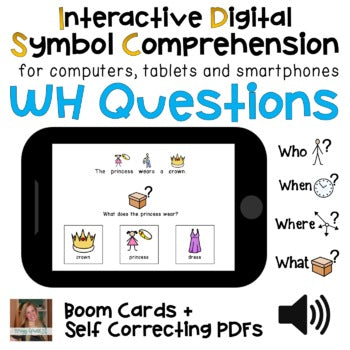 Digital WH Comprehension Questions Interactive PDFs + Boom Cards (Bundle)