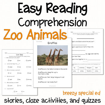 Zoo Animals - Easy Reading Comprehension for Special Education
