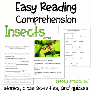 Insects - Easy Reading Comprehension for Special Education