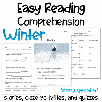 Winter - Easy Reading Comprehension for Special Education