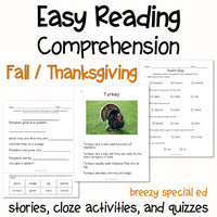 Fall and Thanksgiving - Easy Reading Comprehension for Special Education