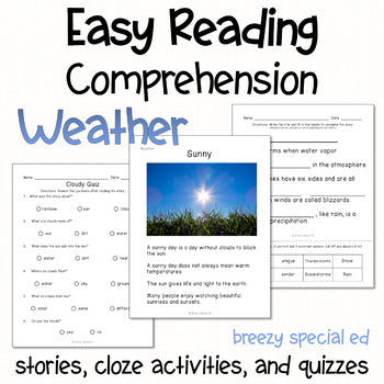 Weather - Easy Reading Comprehension for Special Education