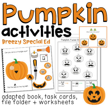 Pumpkin Jack-O-Lantern Adapted Book, Task Cards, and MORE Halloween Activities