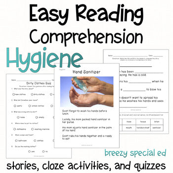 Hygiene reading comprehension stories for special education