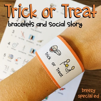 Trick or Treat social story and communication bracelets