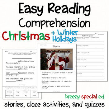 Christmas and Winter Holidays - Easy Reading Comprehension for Special Education