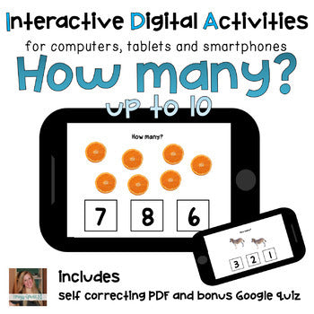 How many? ⋅ Counting Digital Activities ⋅ Interactive PDF, Boom Cards, and Quiz
