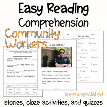 Community Workers - Easy Reading Comprehension for Special Education
