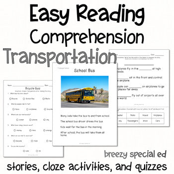 Transportation - Easy Reading Comprehension for Special Education