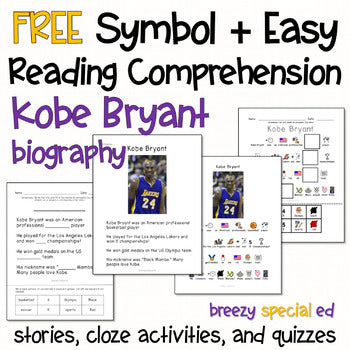 Kobe Bryant: Symbol Supported + Easy Reading Comprehension for Special Ed