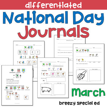 National Days March Differentiated Journals for special education