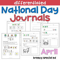National Days April Differentiated Journals for special education