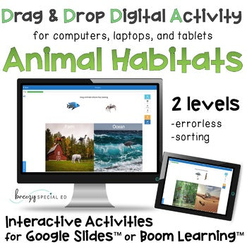 Distance Learning: Animal Habitats Interactive Activities for Special Education