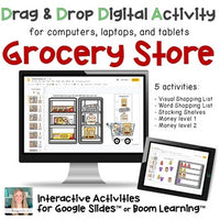 Grocery store life skill digital activity for distance learning on google slides or boom learning