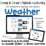 Weather digital drag and drop interactive activities on boom learning or google slides