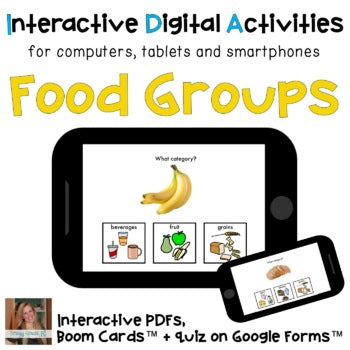 Distance Learning ⋅ Food Groups ⋅ Interactive PDF, Boom Cards, and Quiz