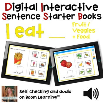 Digital Interactive Books - I Eat - Sentencer Starter Books - Boom Cards™