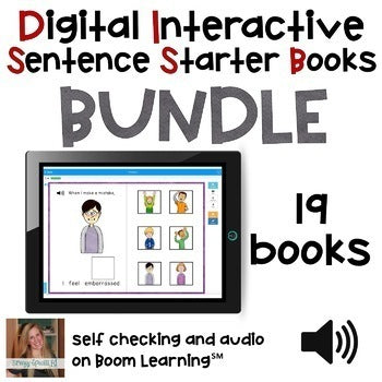 Bundle of Digital Interactive Sentence Starter Books with AUDIO on Boom Cards