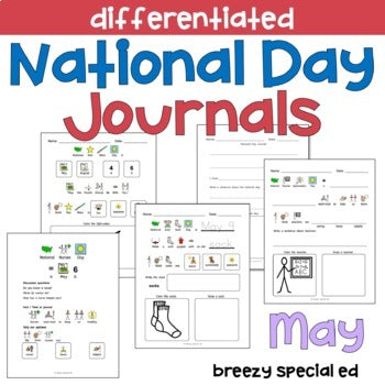 National Days May Differentiated Journals for special education
