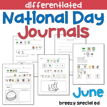 National Days June Differentiated Journals for special education