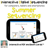 Digital Summer Sequencing for Special Ed (Interactive PDF and Boom Cards)