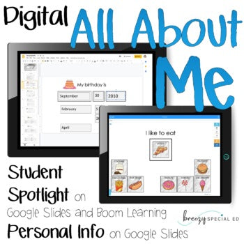 Digital All About Me and Personal Info - for Special Education