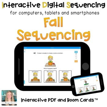 Digital Fall Sequencing for Special Ed (Interactive PDF and Boom Cards)