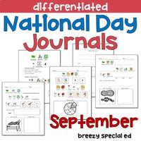 National Days September Differentiated Journals for special education