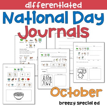 National Days October Differentiated Journals for special education