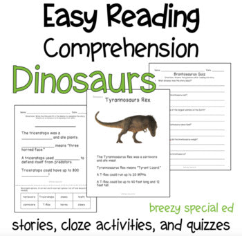 Dinosaur Easy Reading Comprehension Activities for special ed