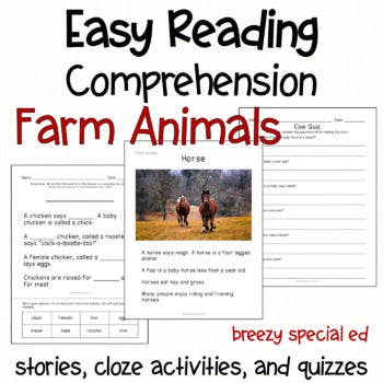 Farm Animals - Easy Reading Comprehension for Special Education