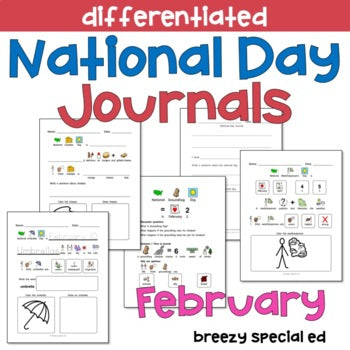 National Days February Differentiated Journals for special education