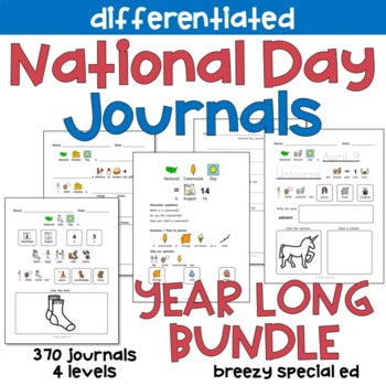 BUNDLE National Days Differentiated Journals for special education