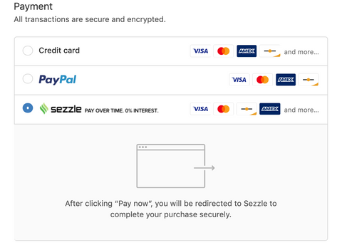 How to use Sezzle to Finance your Purchase 1) Proceed to Checkout.  2) Choose Sezzle on the Payment page:    3) Enter simple information and get approved FAST.  4) Use Sezzle for future payments with a single click.