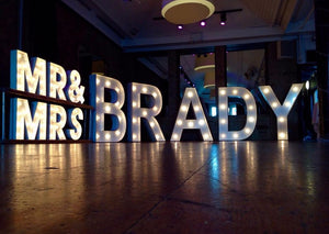 5ft MR&MRS Light Up Letters with Surname for Weddings