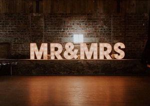 2ft MR&MRS Light Up Letters for Barn Weddings