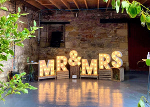 2ft Rustic MR&MRS Light Up Letters for Weddings