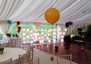 5ft PARTY light up letters for Marquee Wedding