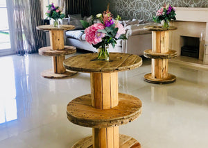 Rustic Spool Tables for Hire