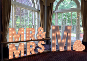 2ft  MR&MRS  with Initials Light Up Letters for Weddings