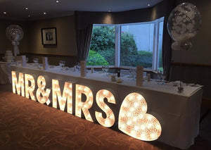 2ft MR&MRS Light Up Letters for Wedding day top table