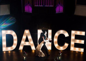 5ft DANCE light up letters for Stage area at  Wedding