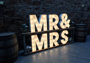 2ft MR&MRS Rustic Light Up Letters for Weddings