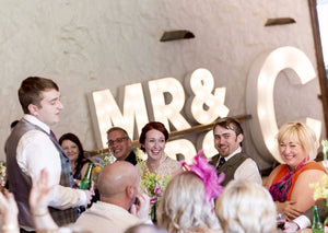 2ft MR&MRS Light Up Letters with Initials for Weddings