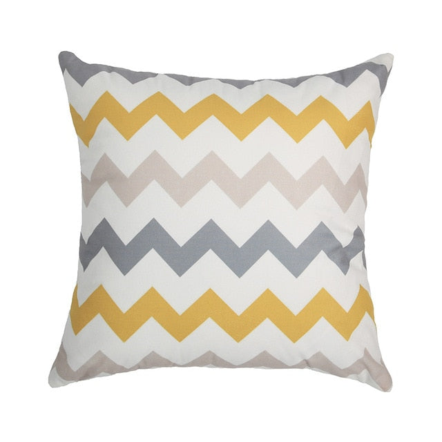 Topfinel Geometric Nordic Cushion Cover Gray and Yellow - PillowsandBedStuff