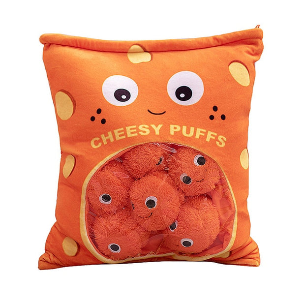 A Bag of Cheesy Puffs Plush Toy Soft Snack Pillow Puff Toy Stuffed Birthday Christmas Gift for Child Funny Food Pillow Cushion